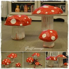 Un champignon hallucinant - Griff'Sauvage Paper Clay, Clay Art, Paper Art, Paper Crafts, Diy Craft Projects, Diy Crafts, Emoji Images, Halloween Disfraces, Art Activities