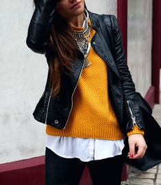 winter outfit with #mustard sweater, jeans and ethnic #necklace