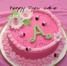 Peggy Does Cake. (Click photos to enlarge! Pink Ladybug Birthday, Little Girl Birthday Cakes, Ladybug 1st Birthdays, Pink Birthday Cakes, Ladybug Party, Cakes To Make, How To Make Cake, Ladybug Smash Cakes, Cupcake Cakes
