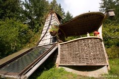 This is a passive solar shower at Channel Rock, a conservation and permaculture ecoVillage centre on Cortes Island, Canada. See how it works at www.naturalhomes.org/timeline/offgrid-shower.htm