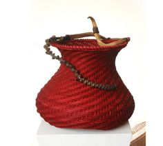Red spiral basket Housewarming gift  Lady in red by WeavingArt, $800.00