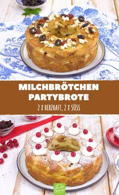 Aus vielen kleinen Brötchen wird ein Brot fürs Partybüffet. 4 Varianten sorgen für Abwechslung! #leckerschmecker #rezept #rezepte #kochen #backen #milchbrötchen #brot #brötchen #party #büffet #gäste #für viele #herzhaft #süß #varianten #hotdog #milchbrötchen #frankfurter kranz #griechisch #feta #oliven #getrocknete tomaten #tomaten #käse #hackfleisch #quark #karamell #apfel #pudding #vanillepudding #preiselbeeren #marmelade #variation #fingerfood #feiern