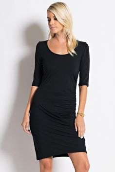 Spicy Mix Alma Fitted Stretch Side Ruche Little Black Dress