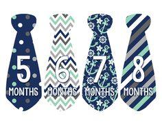 Baby Boy Monthly Necktie Milestone Birthday Tie Stickers Style #702