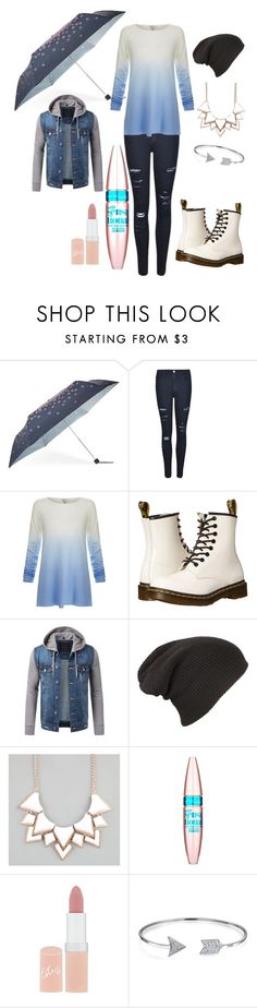"""""""Rain"""" by clea123 ❤ liked on Polyvore featuring Fulton, Frame Denim, Joie, Dr. Martens, Full Tilt, Maybelline, Rimmel and Bling Jewelry"""