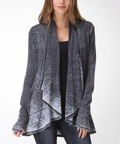 Look at this Charcoal Gray Distressed Open Cardigan - Women on #zulily today!