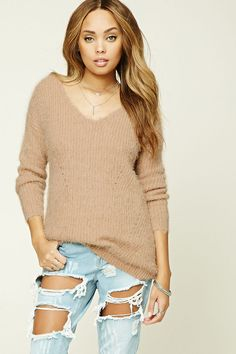 A faux mohair knit sweater featuring a V-neckline 9270ba0a0
