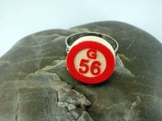 Wood Bingo Chip Ring On Adjustable Silverplated Ring by luv4sams, $6.00