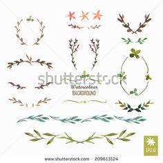 Hand-painted watercolor design elements. Floral motifs. Watercolor vintage floral trendy set of wreaths and laurels. Frame set
