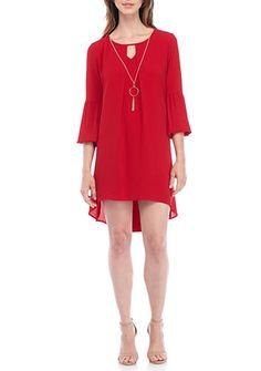 Kim Rogers® Petite Size Scoop Split Neckline High-Low Dress
