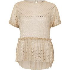 Gold polka dot mesh frill top - blouses - tops - women