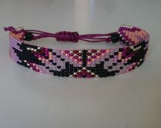 Loom beaded bracelet with waxed cord/Native inspired