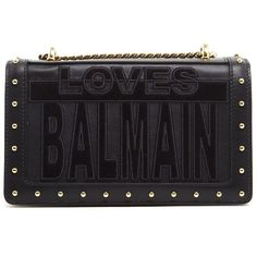 BALMAIN 'Love Balmain' Crossbody Bag (€1.140) ❤ liked on Polyvore featuring bags, handbags, shoulder bags, crossbody purse, embroidered leather purse, leather shoulder bag, chain strap shoulder bag and leather handbags