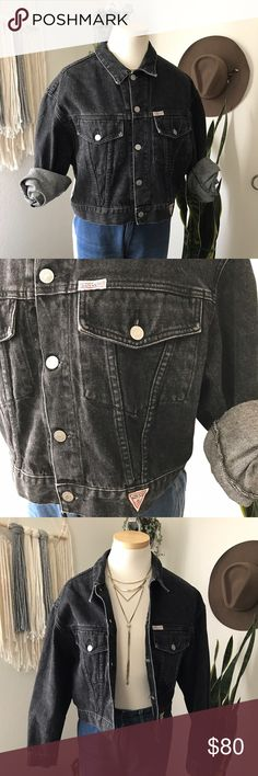 "GUESS by Georges Marciano denim jacket ✨AMAZING GUESS jacket! ✨😱😭👌🏻vintage from the 80's no holes tears or rips it is a washed out black with two pockets on the front .   Sleeve length 21"" chest 21"" (buttoned up) length of jacket 19 1/2 . The jackets has a loose 80's medium fit . Guess by Marciano Jackets & Coats Jean Jackets"
