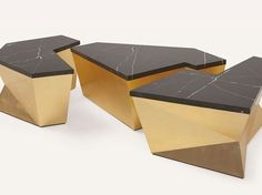 Ensemble a monumental coffee table design featuring three individual geometric sections, an antique base, topped with marble. The three elements can be used apart or slotted together. It is one of the 80 new pieces that will make a debut in Salone. Antique Coffee Tables, Coffe Table, Coffee Table Design, Table Furniture, Cool Furniture, Modern Furniture, Furniture Design, Outdoor Furniture, Christopher Guy