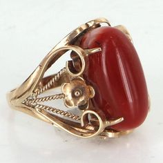 Mediterranean Red Coral Cocktail Ring Vintage 18 Karat Yellow Gold Estate Jewelry