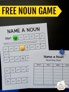If you're teaching nouns in first grade or second grade, this free noun game is a great fit! Kids can list a person, place, object, or animal as they move along the board. #firstgrade #secondgrade #noungame #grammar