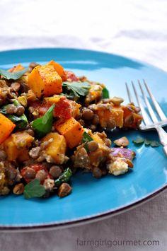 Warm Butternut Squash Lentil Feta Salad
