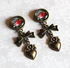 """Rebel Rose Hearts and Bows Girly Dangle Plugs OR Earrings - 2g, 0g, 00g, 1/2"""" by ryarr on Etsy"""
