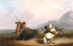 George Catlin, Karl Bodmer and Alfred Jocob Miller and others Indians Hunting Buffalo