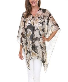 This Black & Brown Paisley Cape-Sleeve Poncho - Women by Ananda's Collection is perfect! #zulilyfinds