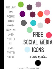 Free social media icons for bloggers - with Instagram and Pinterest! Many colors available.
