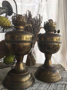 Antique Brass Oil Lamp Bases Beach House Decor by TresconyAntiques