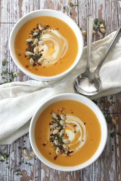 Spiced Butternut Squash Soup. Dairy free - made with coconut milk