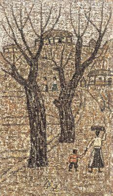 Park Soo-keun, On the Road, 1964, Oil on Hardboard, 31x18cm, GALLERY HYUNDAI
