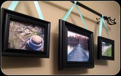 idea for hanging pics from the rods in the upstairs loft