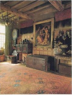 Lakefield House (inspired by Snowshill Manor) -- The room I used for Ford's study. Note the 17th Century iron chest.