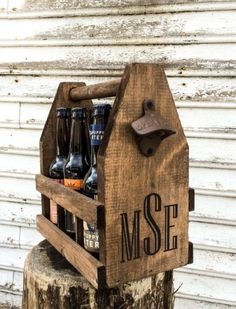 6 Rustic Wedding Engagement Groomsmen Gifts Handcrafted Wooden Six Pack Beer Carrier, Cast Iron Bottle Openers Wedding Gifts For Groomsmen, Groomsmen Proposal, Diy Wedding Gifts, Wedding Favours, Groomsman Gifts, Groomsmen Presents, Groom Gifts, Wedding Crafts, Top Wedding Trends
