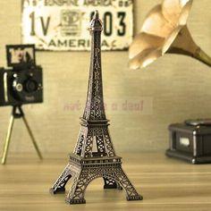 Hot Home Decoration 15CM Bronze Tone Paris Eiffel Tower Figurine Imitation Statue Sculpture Souvenir