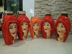 Bottle craft art s Vase Crafts, Clay Crafts, Pottery Painting Designs, Painted Clay Pots, Plastic Bottle Crafts, Wine Bottle Art, Pottery Sculpture, Art N Craft, Bottle Painting