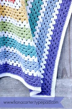 Fiona Carter's rainbow granny square blanket