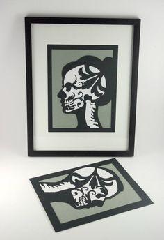 XRay Silhouette Custom Portrait Sugar Skull Day by MinksPaperie