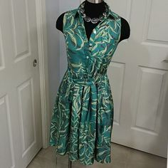 Tocca Shirt Dress Bold green and chartreuse midi dress. 100% silk dress. One pocket on chest and attached sash. Tocca Dresses Midi