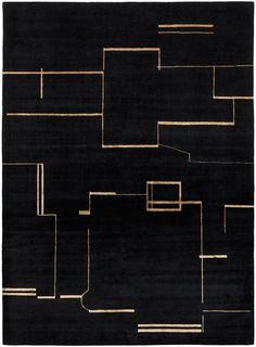 Black – gold. Hand knotted in wool + silk, pattern in silk. Made in Nepal. Design Kristiina Lassus.