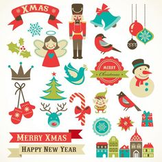 Set of Christmas Retro icons and New Year elements Vector