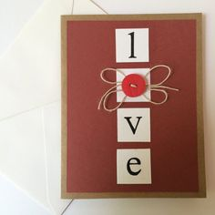 Handmade I Love You Card by MadeByRy on Etsy