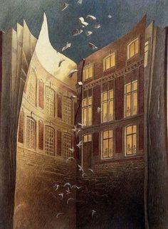 "FRANCOIS SCHUITEN. from the graphic novel, ""Les Cites Obscures"" by Benoit Peeters."