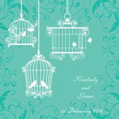 Melody Square Vertical Invitation in Sea Green - DreamDay Wedding Invitations