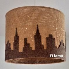 handmade lamp from wool with skyscrapers