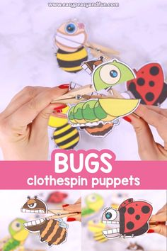 Using clothespins to hang the laundry might be boring but making clothspin crafts, especially these bugs clothespin puppets is insanely fun. attivit Bugs Clothespin Puppets for Kids Bee Crafts For Kids, Spring Crafts For Kids, Diy For Kids, Fun Crafts, Diy And Crafts, Arts And Crafts, Summer Crafts, Puppets For Kids, Puppet Crafts