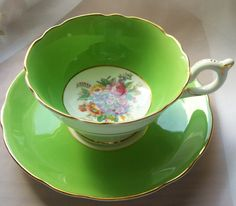 Vintage Coalport teacup  mint green teacup   by NewtoUVintage