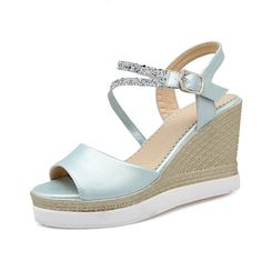 VogueZone009 Women's High-Heels Soft Material Solid Buckle Platforms and Wedges ** Click image for more details.