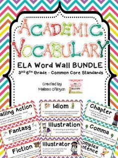 Are you posting ELA academic vocabulary words for your students to reference throughout the year? This set of Common Core ELA vocabulary word wall cards is perfect for display in any 3rd-6th grade classroom. Just print, cut and create an eye-catching bulletin board that your students will use every day! These words are critical for ELA success!! $ #wildaboutffithgrade