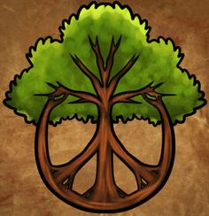 how to draw a peace tree