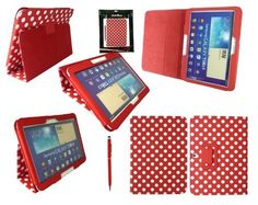 Emartbuy® Samsung Galaxy Tab 3 10.1 Pouces Tablet (P5200 / P5210) Rouge Double Fonction Stylus + Polka Dots Rouge / Blanc Pu Cuir Multifonctions / Multiangle Wallet / Cover / Stand / Case Typing, http://www.amazon.fr/dp/B00F2HNYRM/ref=cm_sw_r_pi_awdl_SNs2tb15T7SCB