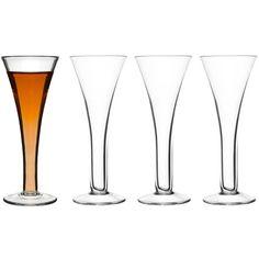 Fire snapsglass av munnblåst glass i klassisk, tidløs ...